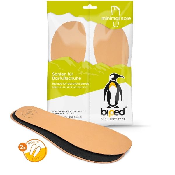 biped minimal sole Ledigos - 2 Paar Einlegesohlen für Barfußschuhe - Ledersohlen mit Aktivkohle