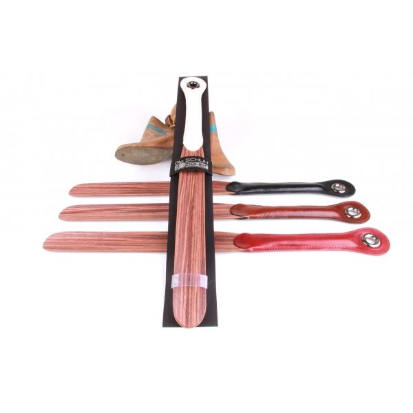 Exklusiver Holz Schuhlöffel mit Ledergriff z2472